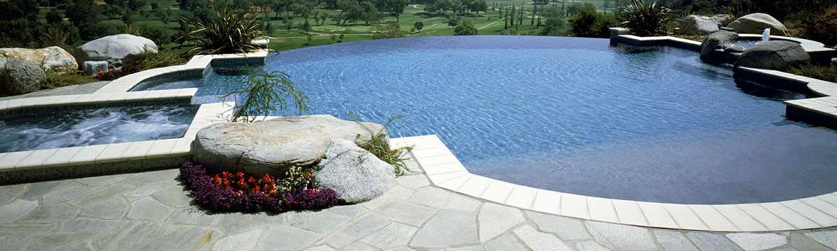 Pool design with pebble crete finish