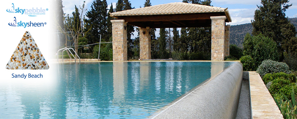 Inground pool design with Skypebble® finish Sandy Beach