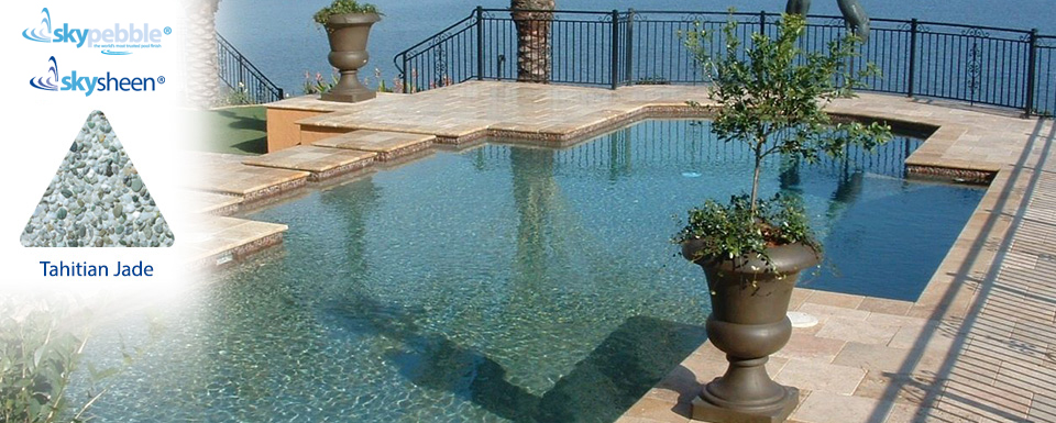 Inground pool design with Skypebble® finish Tahitian Jade
