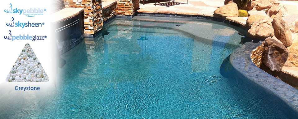 Beautiful natural pool design with Skypebble® finish Greystone