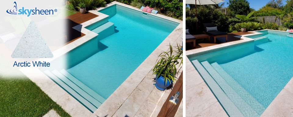 Arctic White Pebblesheen® swimming pool interior from Skypebble®.