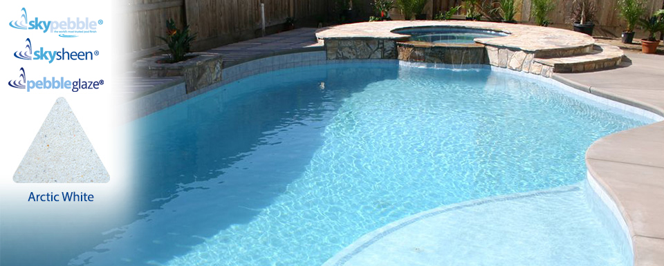Pool and spa designs with Skypebble® Arctic White