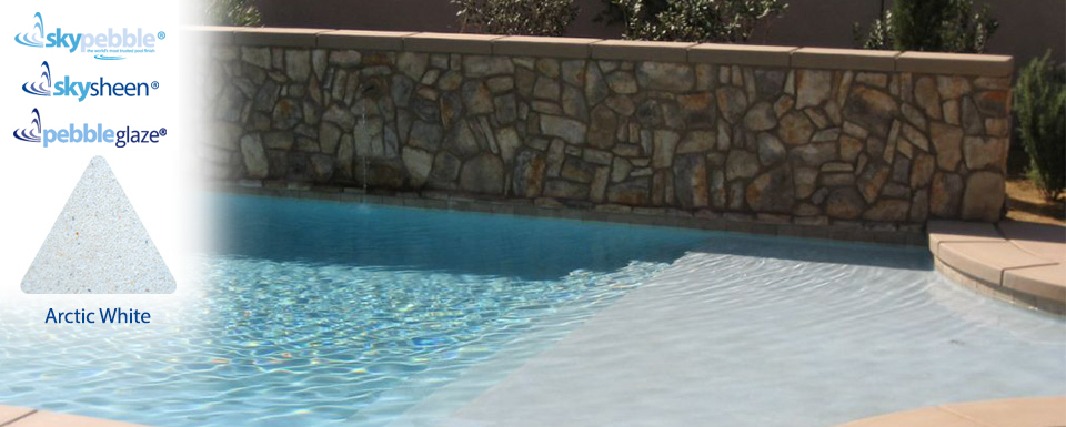 Pool designs with Skypebble®'s Arctic White pebble pool interior