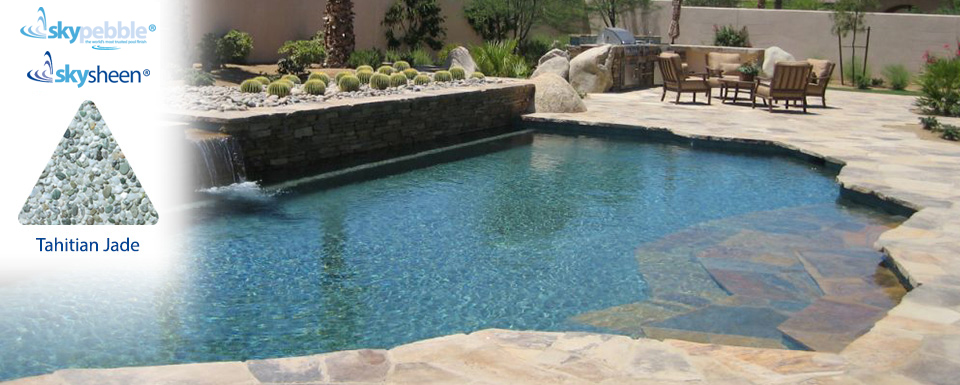 Natural pool designs with Tahitian Jade pebble finish from Skypebble®