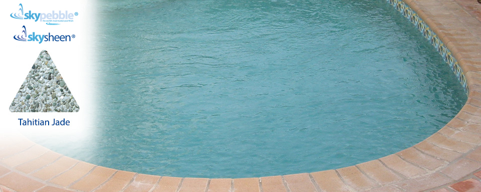 Backyard pool designs with Tahitian Jade interior finish