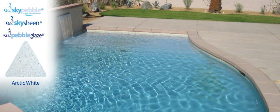 Pool designs with Arctic White pool surface by Skypebble®