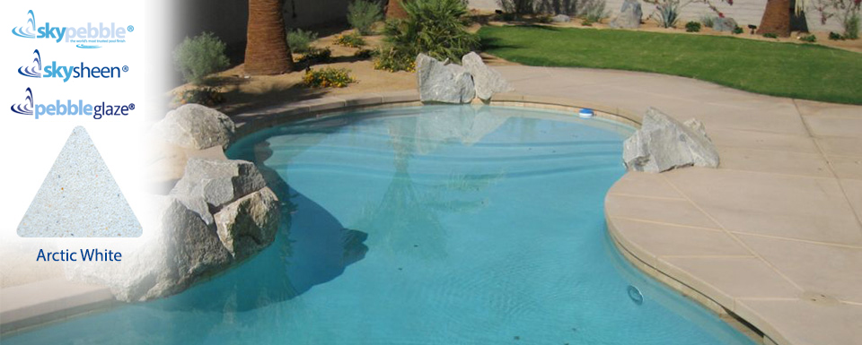 Pool designs with Skypebble®'s Arctic White pebble interior finish