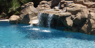 Pool Resurfacing Waterfeature with Skypebble interior finish