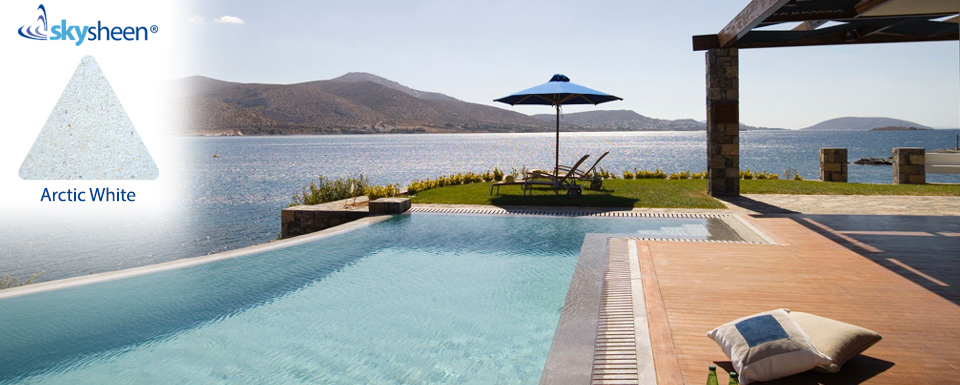 Swimming pools seaside with Arctic white interior from Skypebble®