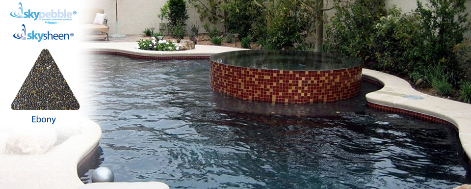 Backyard swimming pool with spa finished with Ebony interior