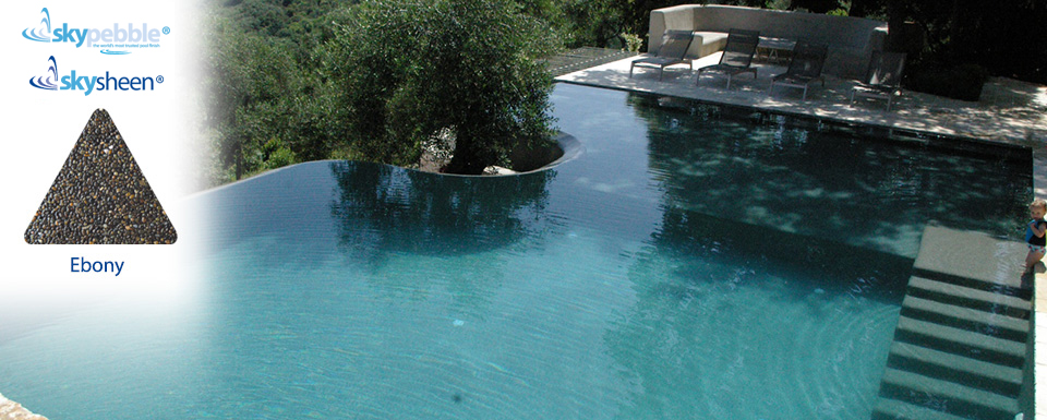 Infinity swimming pools finished with Ebony Skypebble® interior