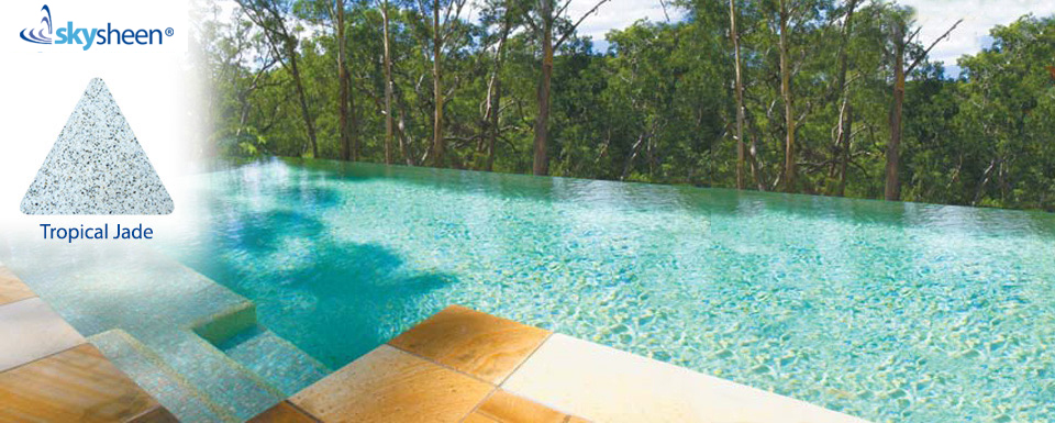 Infinity swimming pools finished with Tropical Jade Skypebble® interior